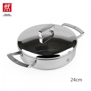 双立人 煎锅炖锅24mm 双柄不锈钢锅具  双耳煎炒锅