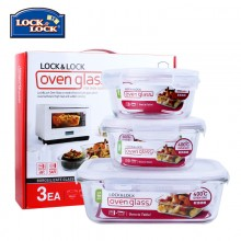 乐扣乐扣 饭盒格拉斯3件套LLG821S001  户外饭盒 微波炉饭盒 学生饭盒 耐热玻璃饭盒