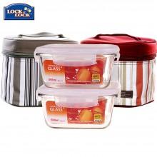 乐扣乐扣 饭盒格拉斯3件套LLG901S001 耐热玻璃饭盒 格拉斯玻璃保鲜盒三件套